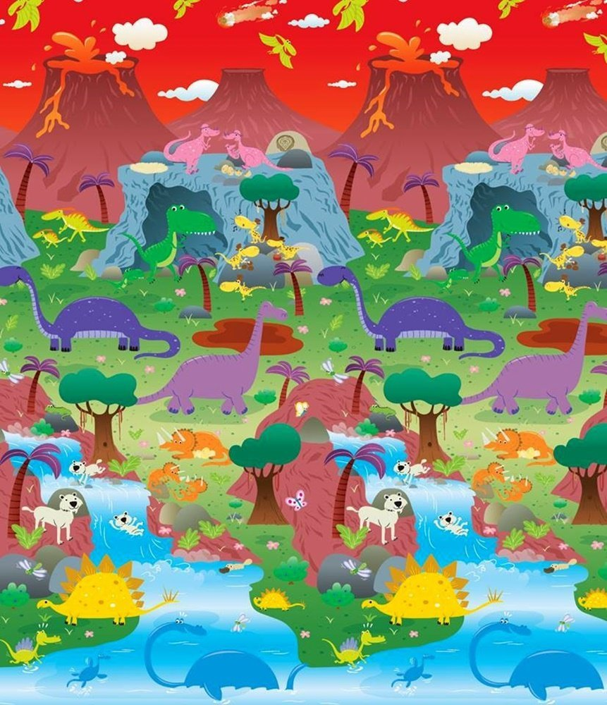 Covoras de Joaca cu Doua Fete pentru Copii Prince Lionheart City Dinosaur imagine