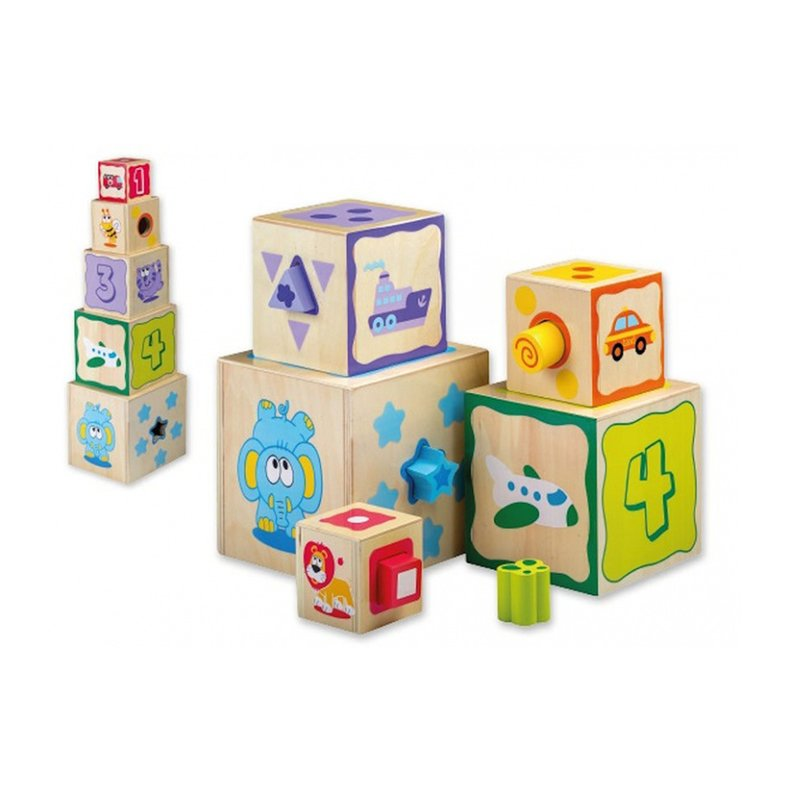 Jucarie din lemn Cuburi cu sortator de forme