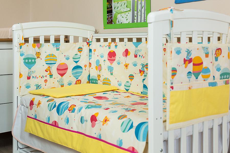 Lenjerie patut bebe cu galben 3 piese Balonase 120 x 60 cm