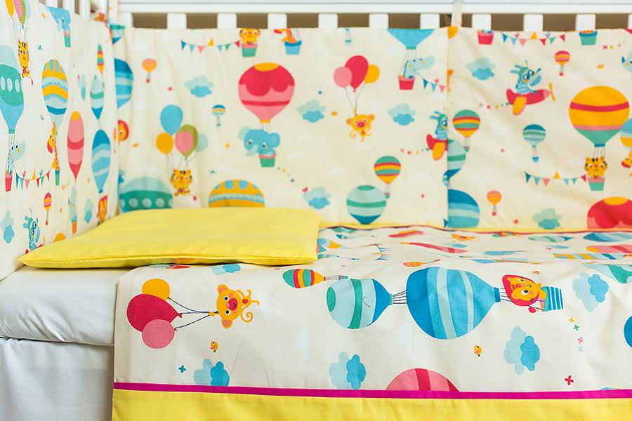Lenjerie patut bebe cu galben 5 piese Balonase 120 x 60 cm