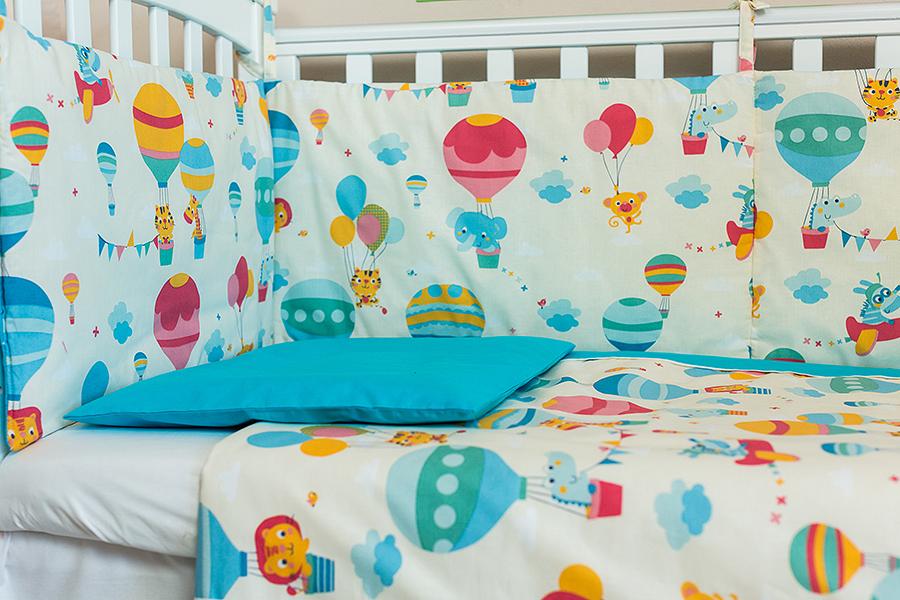 Lenjerie patut bebe cu turcoaz 3 piese Balonase 120 x 60 cm