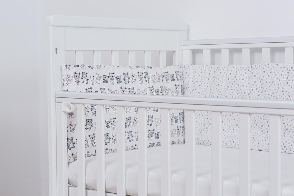 Lenjerie patut bebe pentru fetite 4 piese Ursuleti 120 x 60 cm