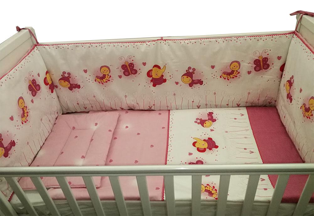 Lenjerie patut bebelusi cu 5 piese Baby Animals 120 x 60 cm