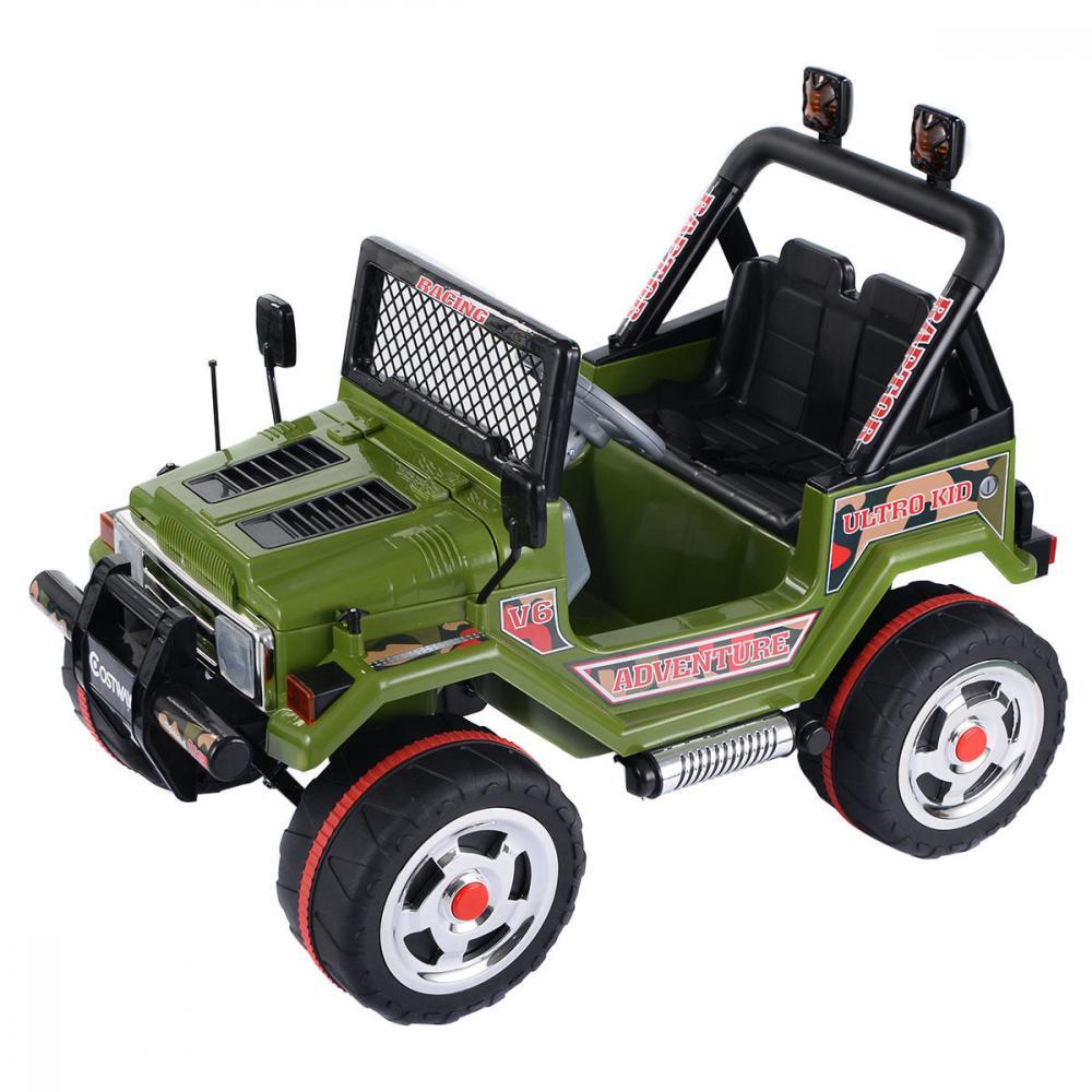 Masinuta electrica cu doua locuri si roti din plastic Drifter Jeep 4x4 Kaki - 4