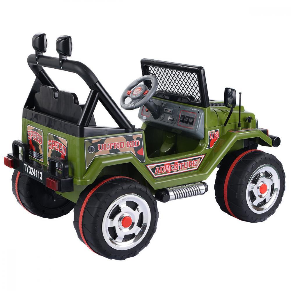 Masinuta electrica cu doua locuri si roti din plastic Drifter Jeep 4x4 Kaki - 1