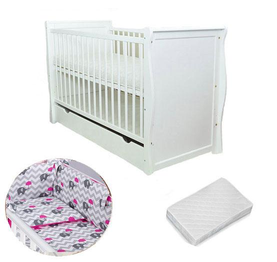Patut multifunctional Regal White + Saltea Cocos + Lenjerie 3 piese Elephant Pink din categoria Camera copilului de la MAMOTATO