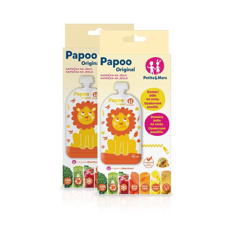Set 6 pungi reutilizabile pentru hranire cu leuti Papoo Portocaliu