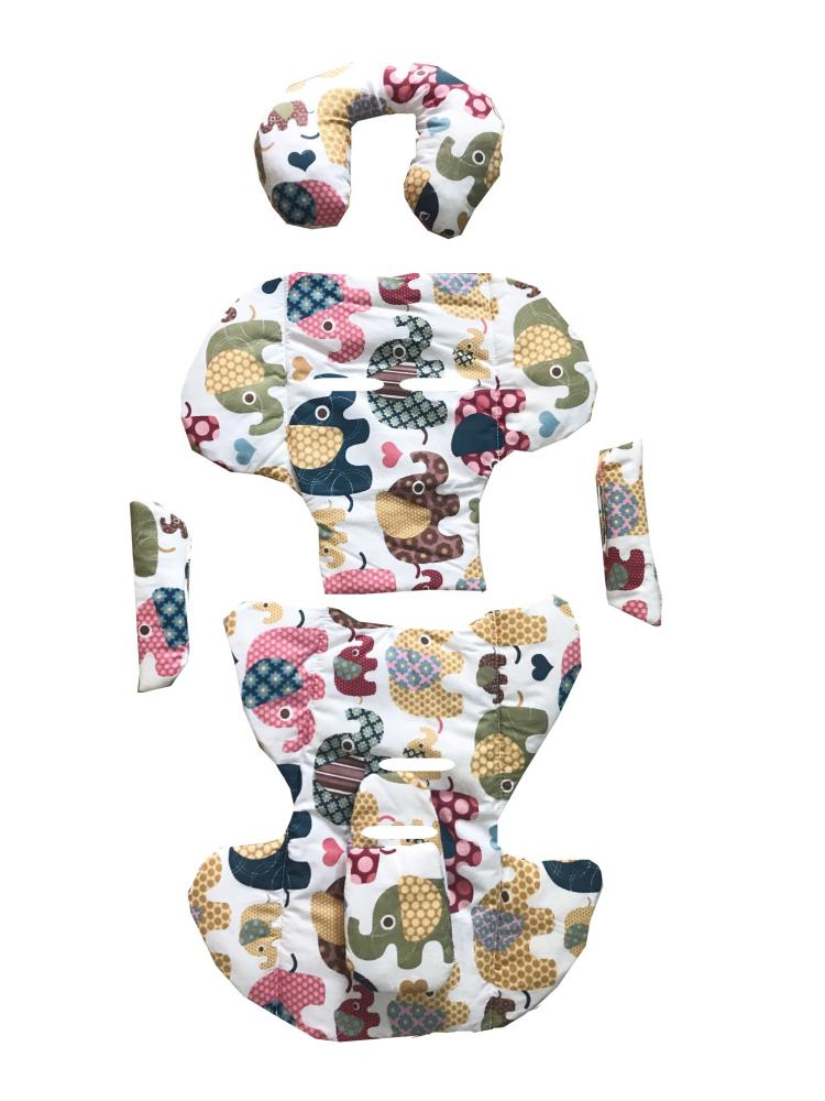 DESEDA Set perne din bumbac pentru scaun auto copii si bebelusi Deluxe elefanti maro