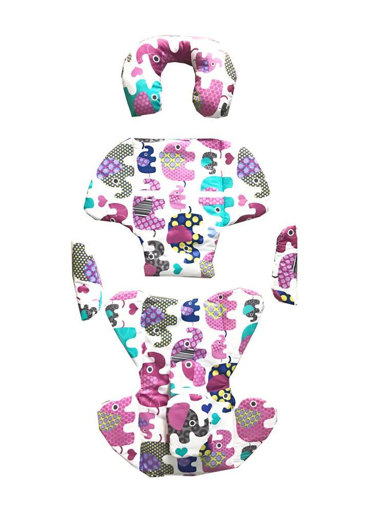 DESEDA Set perne din bumbac pentru scaun auto copii si bebelusi Deluxe elefanti roz