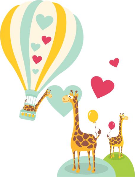 Sticker decorativ Girafe indragostite 150 x 173 cm