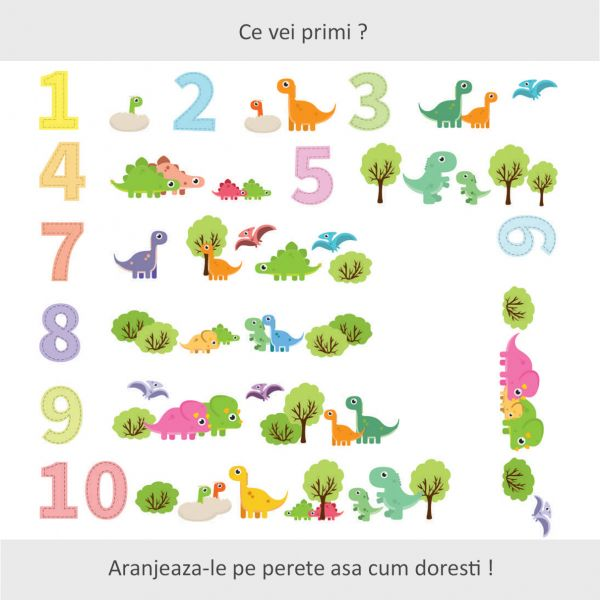Sticker decorativ Lumea Dinozaurilor 86 x 154 cm