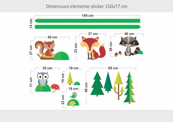 Sticker decorativ Veselia animalutelor 150 x 77 cm imagine