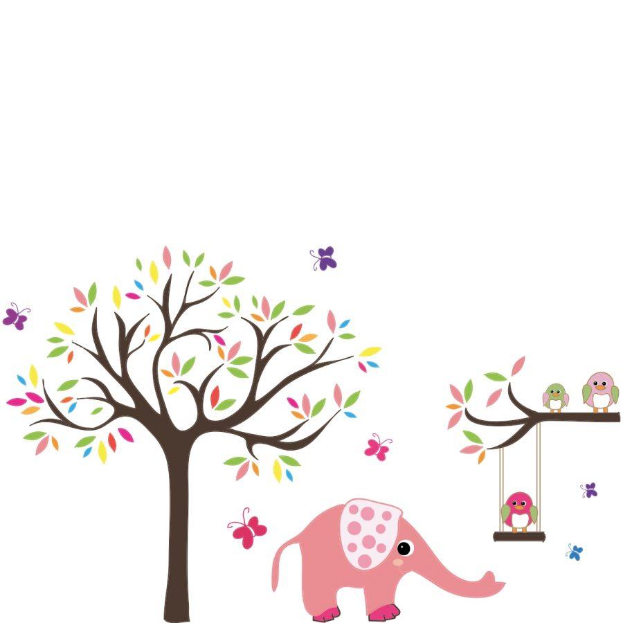 Sticker perete copii Animalute si copacel 85 x 100 cm