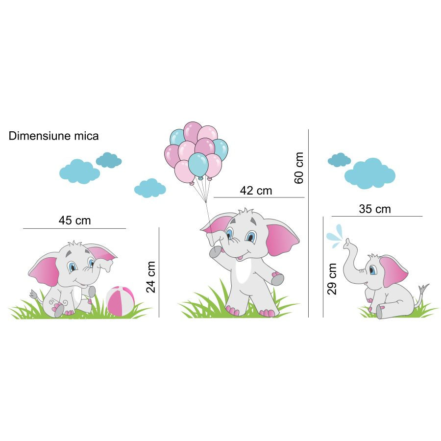 Sticker decorativ Elefantei