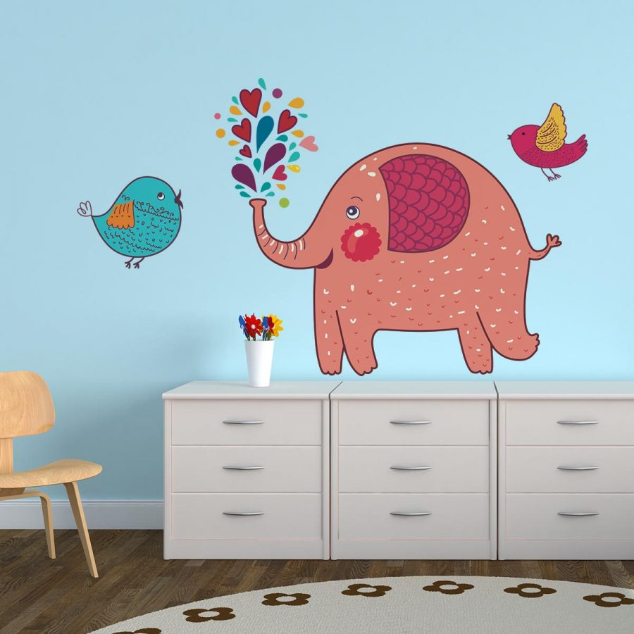 Sticker perete copii Elefantelul vesel 140 x 105 cm imagine