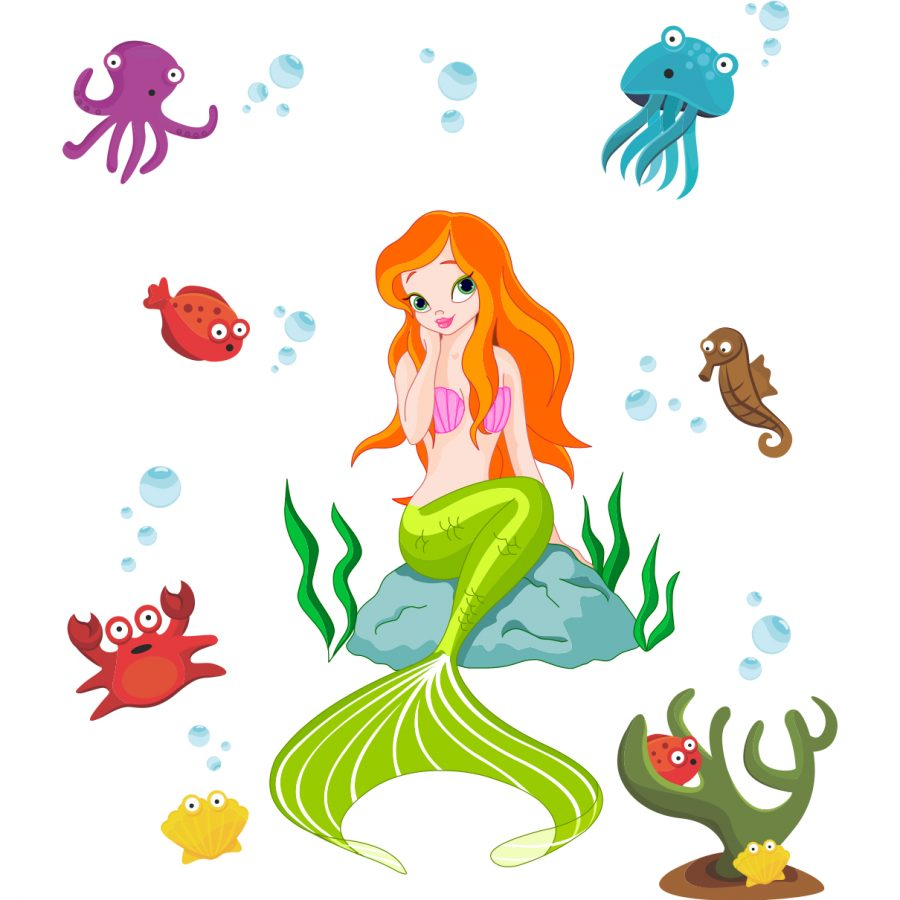 Sticker decorativ Frumoasa sirena
