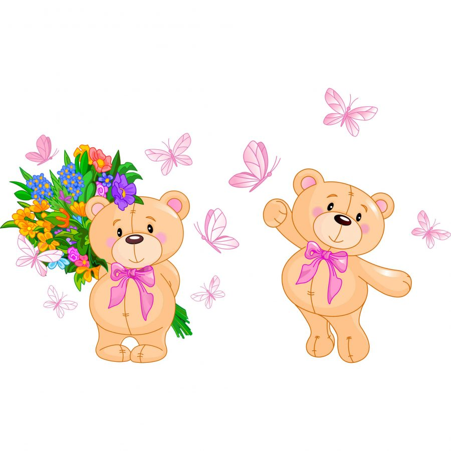 Sticker decorativ Ursulet cu flori