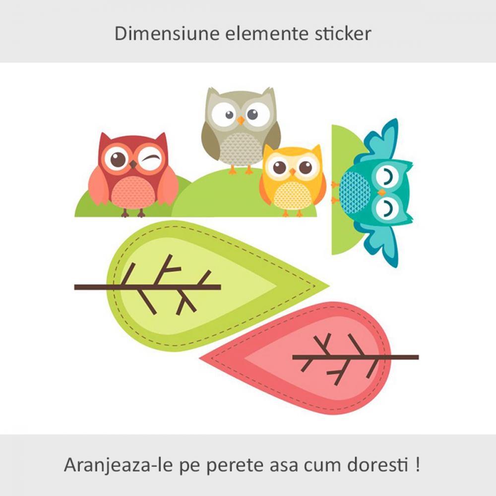 Sticker perete copii Bufnite la joaca 120 x 114 cm