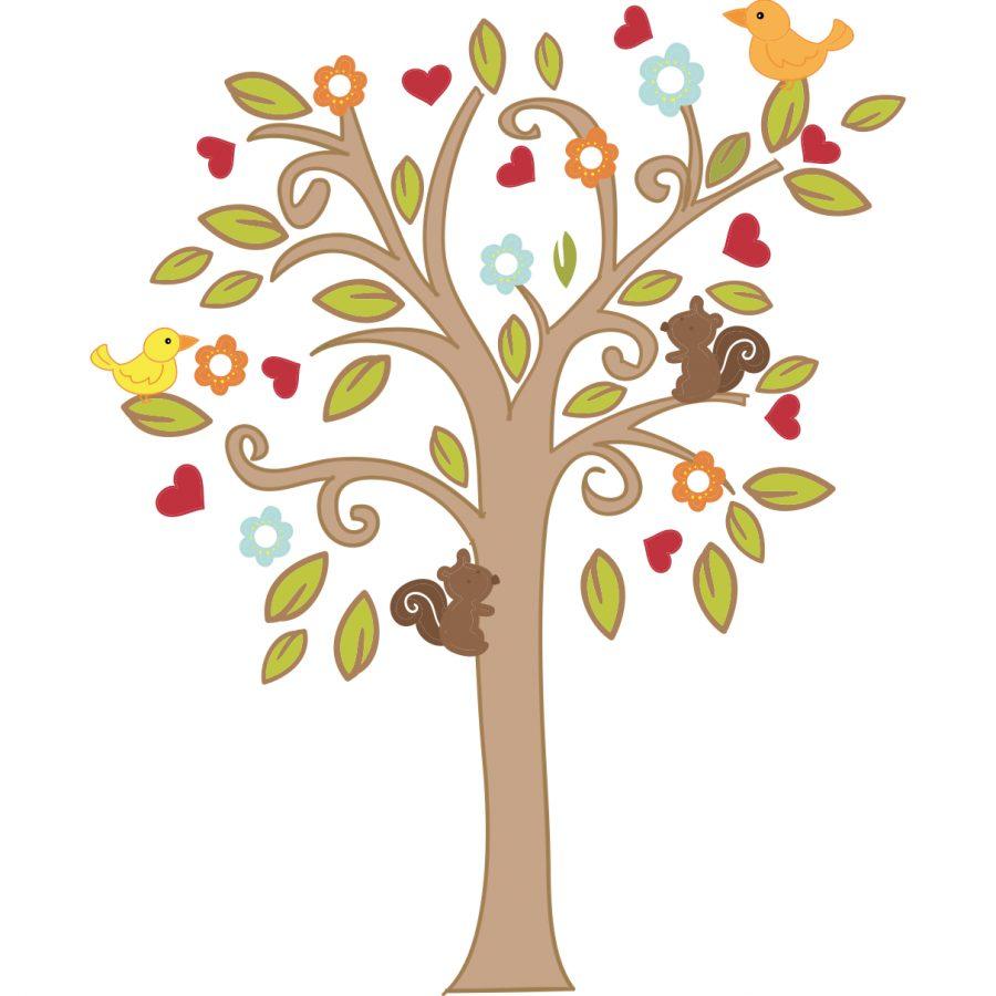 Sticker decorativ Copacel cu veverita
