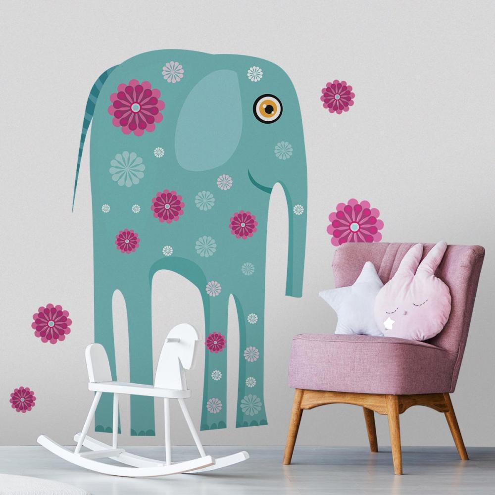Sticker perete copii Elefant cu flori 129 x 115 cm imagine