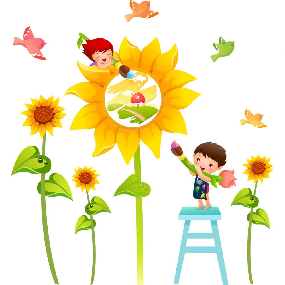 Sticker perete copii Floarea soarelui 120 x 120 cm imagine