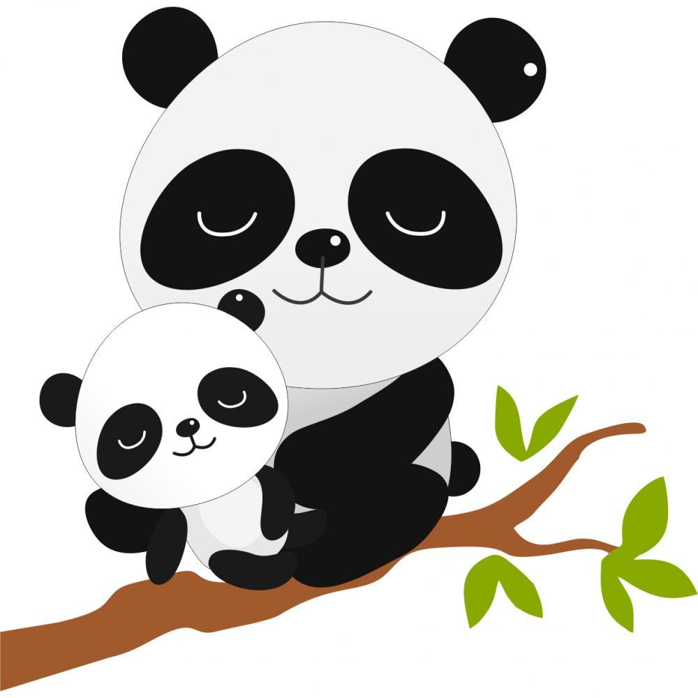 Sticker perete copii Panda cu pui 85 x 73 cm