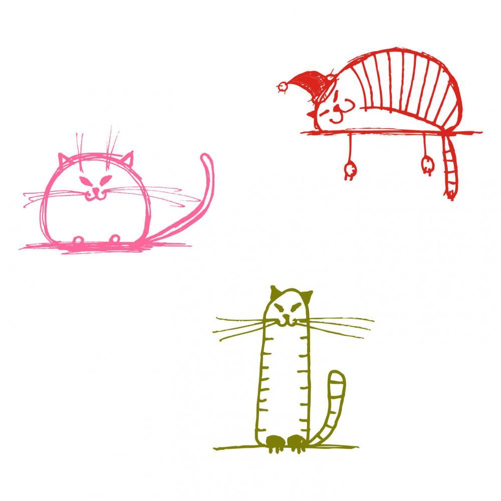 Sticker perete copii Pisicute cuminti 100 x 114 cm imagine