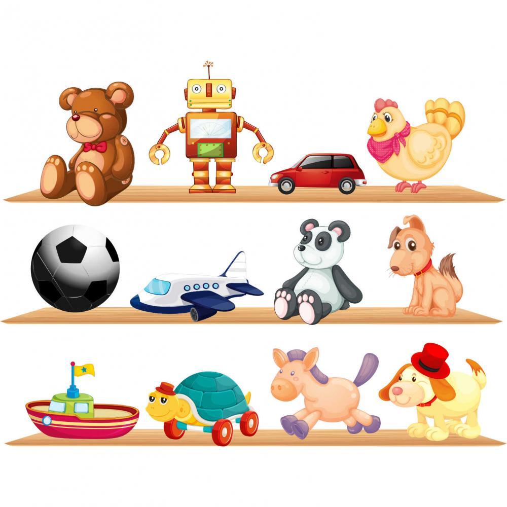 Sticker perete copii Raft cu jucarii 120 x 92 cm, Tiparo