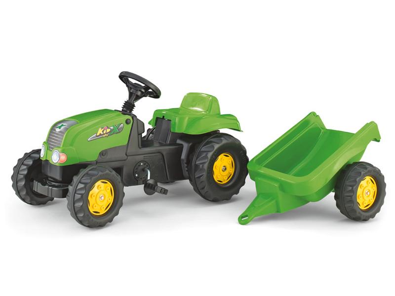 Tractor cu pedale si remorca Rolly Toys 012169 Verde imagine