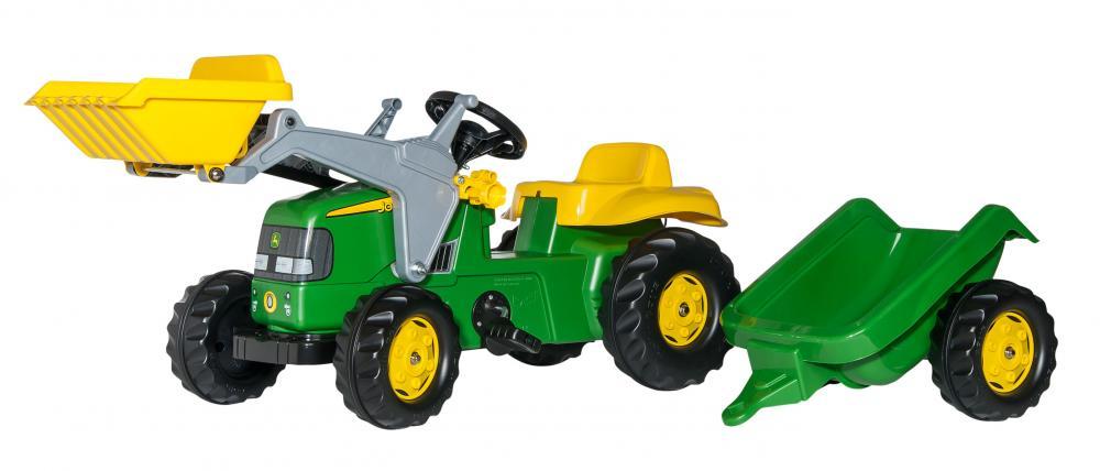 Tractor cu pedale Rolly Kid John Deere verde cu remorca si cupa - 2