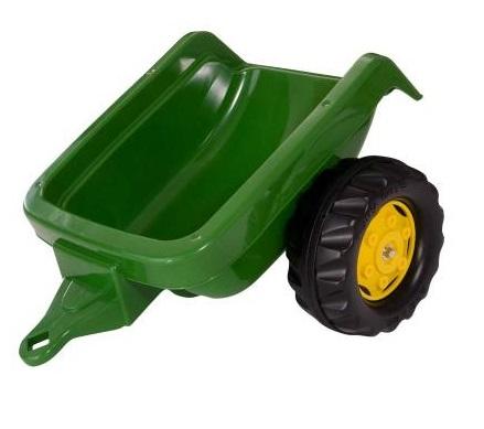 Tractor cu pedale Rolly Kid John Deere verde cu remorca si cupa
