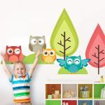 Sticker perete copii Bufnite la joaca 96 x 91 cm
