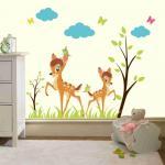 Sticker perete copii Caprioare in padure 120 x 90 cm