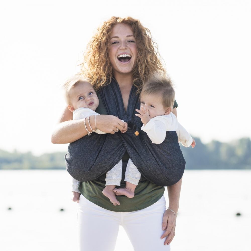 Minimonkey sling pentru gemeni Twin Grey Melee