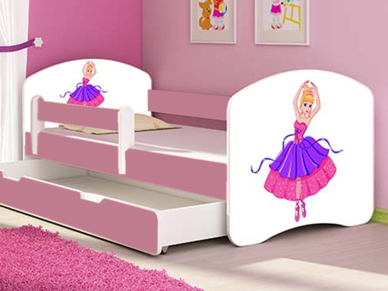 Patut tineret cu sertar si saltea Ballerina 140x70