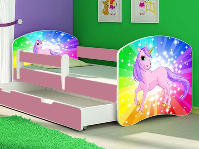 Patut tineret cu sertar si saltea Rainbow Unicorn 160x80