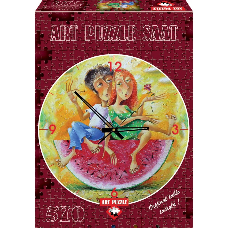 Puzzle 570 piese Ceas Love in red