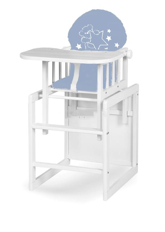 Scaun de masa multifunctional din lemn Aga White Sweet Bear Blue