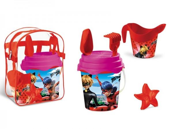 Set plaja Miraculous Mondo pentru copii cu ghiozdanel jucarii plaja si galetusa imagine