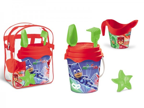 Set plaja Pj Masks Mondo pentru copii cu ghiozdanel jucarii plaja si galetusa