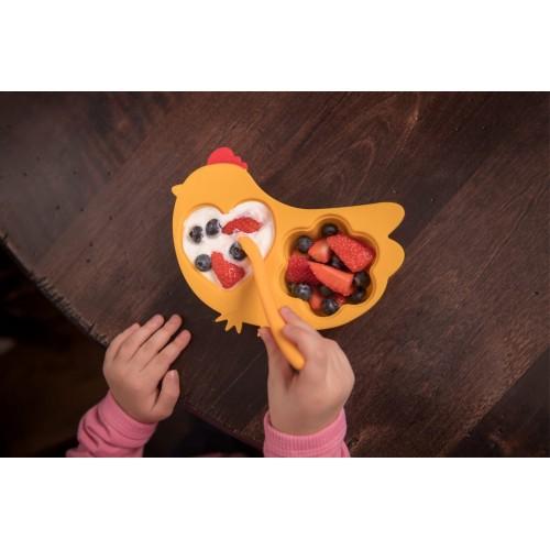Tavita compartimentata multifunctionala cu capac Innobaby Chicken Orange