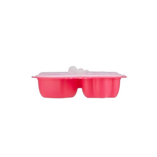 Tavita compartimentata multifunctionala cu capac Innobaby Chicken Pink imagine