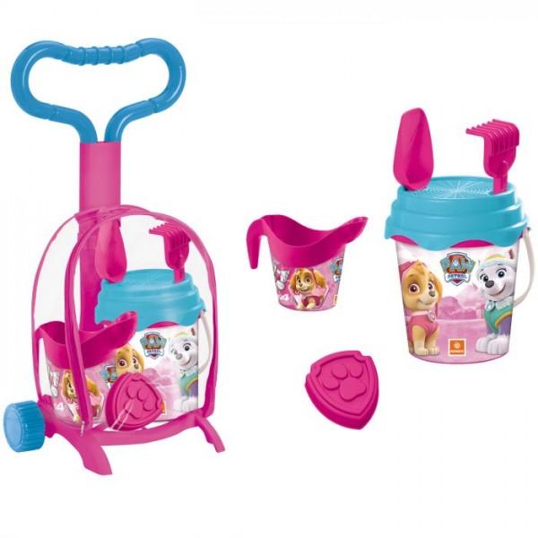 Troller cu ghiozdanel Paw Patrol Girls Mondo pentru copii cu jucarii plaja si galetusa imagine