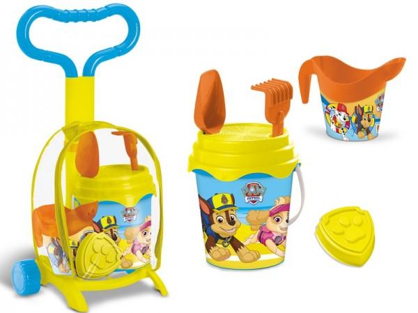 Troller cu ghiozdanel Paw Patrol Mondo pentru copii cu jucarii plaja si galetusa imagine