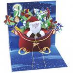 Felicitare 3D pentru iarna Mos Craciun cu sania plina de cadouri