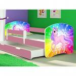 Patut tineret cu sertar si saltea Rainbow Unicorn 140x70