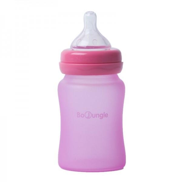 Biberon termo din sticla acoperita de silicon cu indicator de temperatura Bo Jungle 150 ml roz