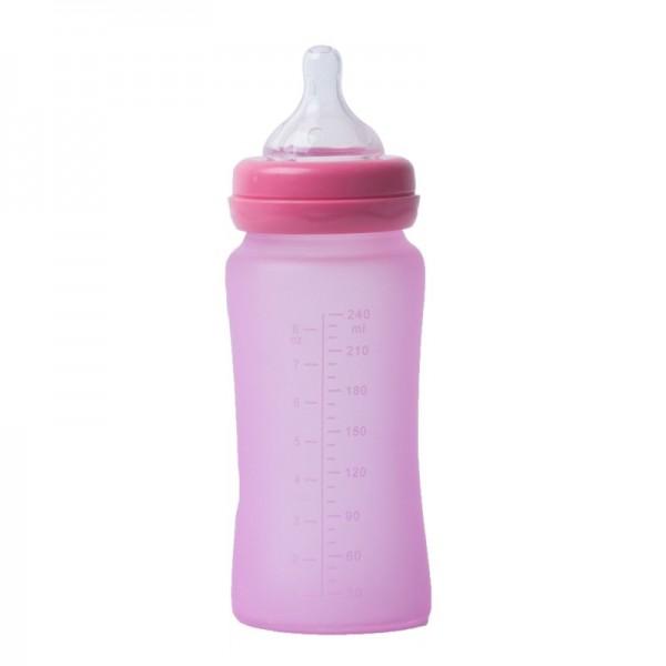 Biberon termo din sticla acoperita de silicon cu indicator de temperatura Bo Jungle 240 ml roz