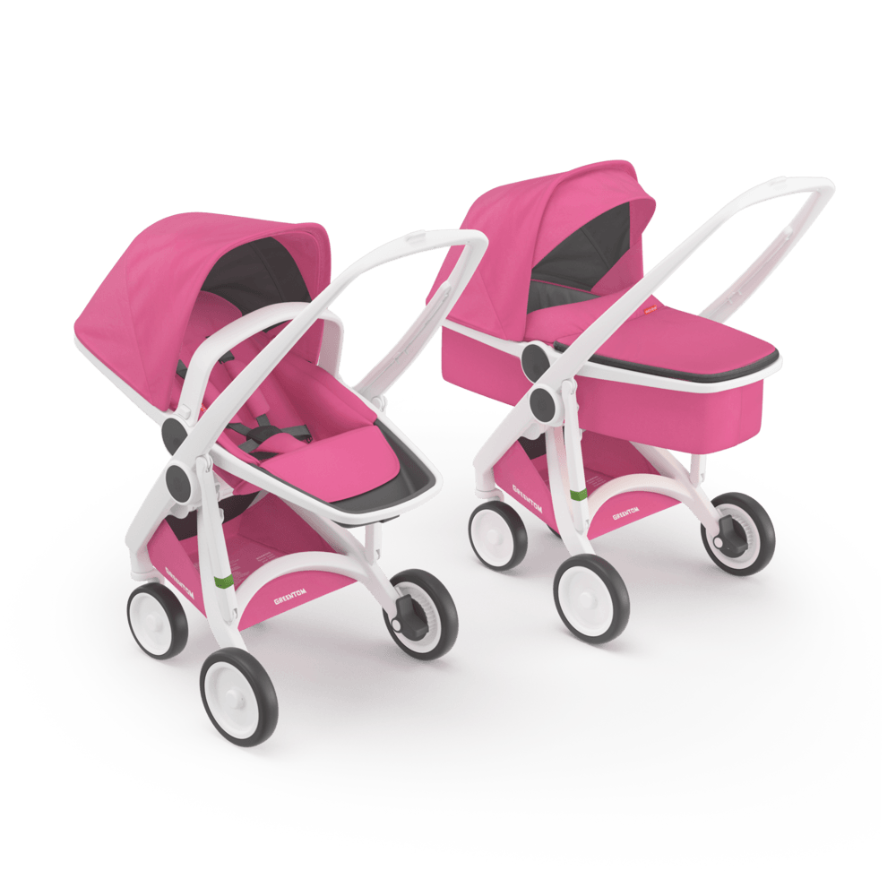 Carucior 2 In 1 100 Ecologic White Pink imagine