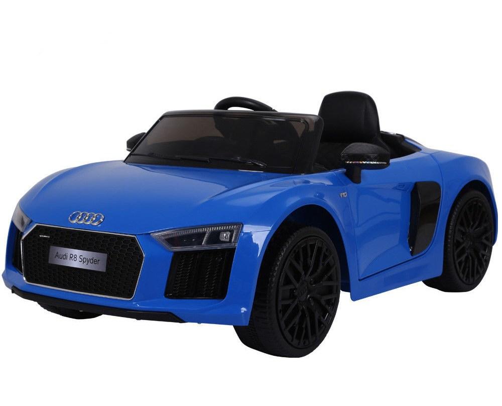 Masinuta electrica cu roti din cauciuc si scaun de piele Audi R8 Spyder Blue